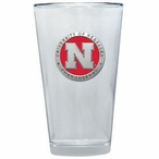 Nebraska Cornhuskers Red Pewter Accent Pint Beer Glasses, Set of 2