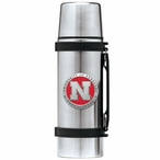 Nebraska Cornhuskers Red Pewter Accent Stainless Steel Thermos