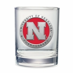 Nebraska Cornhuskers Red Pewter Double Old Fashion Glasses, Set of 2
