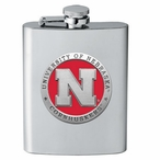Nebraska Cornhuskers Red Stainless Steel Flask with Pewter Accent