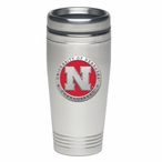 Nebraska Cornhuskers Red Stainless Steel Travel Mug with Pewter Accent