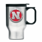 Nebraska Cornhuskers Red Travel Mug with Handle & Pewter Accent