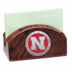 Nebraska Cornhuskers Red Wood Business Card Holder with Pewter Accent