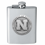 Nebraska Cornhuskers Stainless Steel Flask with Pewter Accent