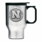 Nebraska Cornhuskers Stainless Steel Travel Mug with Handle & Pewter
