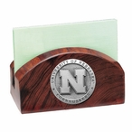 Nebraska Cornhuskers Wood Business Card Holder with Pewter Accent