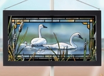 New Beginnings Swan Birds Stained Glass Wall Art