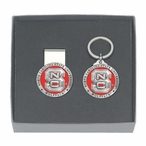 North Carolina State Red Pewter Money Clip & Key Chain Gift Set