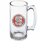 North Carolina State Wolfpack Red Pewter Accent Glass Super Beer Mug