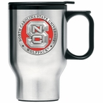 North Carolina State Wolfpack Red Travel Mug w/ Handle & Pewter Accent