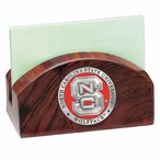 North Carolina State Wolfpack Red Wood Business Card Holder w/ Pewter