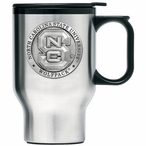 North Carolina State Wolfpack Travel Mug with Handle & Pewter Accent