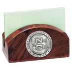North Carolina State Wolfpack Wood Business Card Holder with Pewter