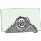Ohio State Buckeyes Logo Metal Business Card Holder with Pewter Accent