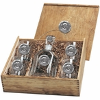 Ohio State Buckeyes Logo Pewter Accent Capitol Decanter Box Set