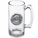 Ohio State Buckeyes Logo Pewter Accent Glass Super Beer Mug
