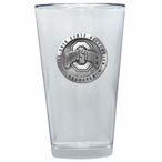 Ohio State Buckeyes Logo Pewter Accent Pint Beer Glasses, Set of 2