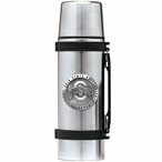 Ohio State Buckeyes Logo Pewter Accent Stainless Steel Thermos