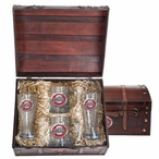 Ohio State Buckeyes Logo Red Pewter Accent Beer Chest Box Set