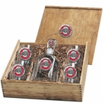 Ohio State Buckeyes Logo Red Pewter Accent Capitol Decanter Box Set