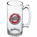 Ohio State Buckeyes Logo Red Pewter Accent Glass Super Beer Mug