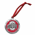 Ohio State Buckeyes Logo Red Pewter Accent Ornaments, Set of 2