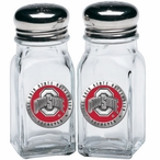 Ohio State Buckeyes Logo Red Pewter Accent Salt & Pepper Shakers