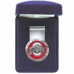 Ohio State Buckeyes Logo Red Pewter Accent Steel Money Clip