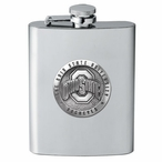 Ohio State Buckeyes Logo Stainless Steel Flask with Pewter Accent