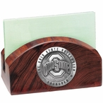 Ohio State Buckeyes Logo Wood Business Card Holder with Pewter Accent
