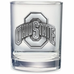 Ohio State Buckeyes Pewter Accent Double Old Fashion Glasses, Set of 2