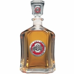 Ohio State Buckeyes Red Logo Capitol Glass Decanter w/ Pewter Accents