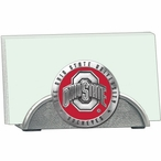 Ohio State Buckeyes Red Logo Metal Business Card Holder with Pewter
