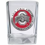 Ohio State Buckeyes Red Logo Pewter Accent Shot Glasses, Set of 4