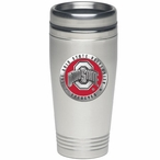 Ohio State Buckeyes Red Logo Stainless Steel Travel Mug with Pewter