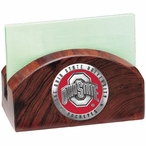 Ohio State Buckeyes Red Logo Wood Business Card Holder with Pewter