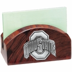 Ohio State Buckeyes Wood Business Card Holder with Pewter Accent