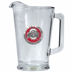 Ohio State University Buckeyes Red Logo Glass Pitcher w/ Pewter Accent