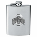 Ohio State University Buckeyes Stainless Steel Flask w/ Pewter Accent
