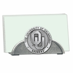 Oklahoma Sooners Metal Business Card Holder with Pewter Accent