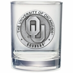Oklahoma Sooners Pewter Accent Double Old Fashion Glasses, Set of 2