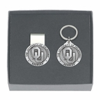Oklahoma Sooners Pewter Accent Money Clip & Key Chain Gift Set