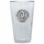 Oklahoma Sooners Pewter Accent Pint Beer Glasses, Set of 2