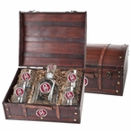 Oklahoma Sooners Red Pewter Accent Capitol Decanter Chest Set