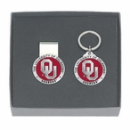 Oklahoma Sooners Red Pewter Accent Money Clip & Key Chain Gift Set