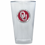 Oklahoma Sooners Red Pewter Accent Pint Beer Glasses, Set of 2