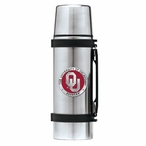Oklahoma Sooners Red Pewter Accent Stainless Steel Thermos