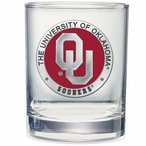 Oklahoma Sooners Red Pewter Double Old Fashion Glasses, Set of 2