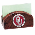 Oklahoma Sooners Red Wood Business Card Holder with Pewter Accent