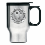 Oklahoma Sooners Stainless Steel Travel Mug w/ Handle & Pewter Accent
